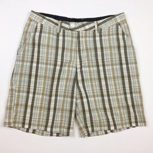 🌷HURLEY Brown White Plaid Cotton Bermuda Shorts
